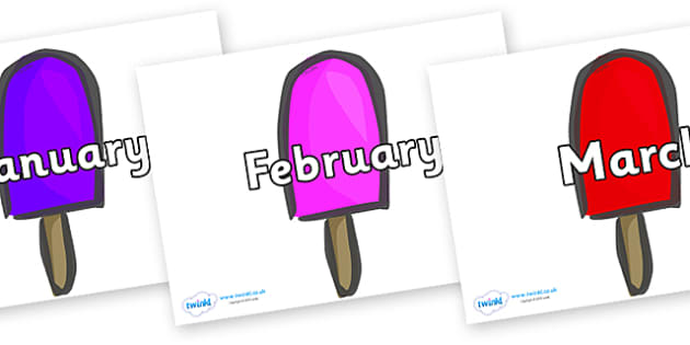 Months of the Year on Ice Lollies - Months of the Year, Months poster, Months display, display, poster, frieze, Months, month, January, February, March, April, May, June, July, August, September