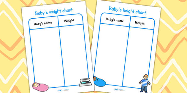 Baby Clinic Role Play Weight and Height Charts - Baby Clinic Role Play Pack, baby healthcare, weight, height, chart, vaccinations, prescription, nurse, doctor, syringe, thermometer, role play, display, poster
