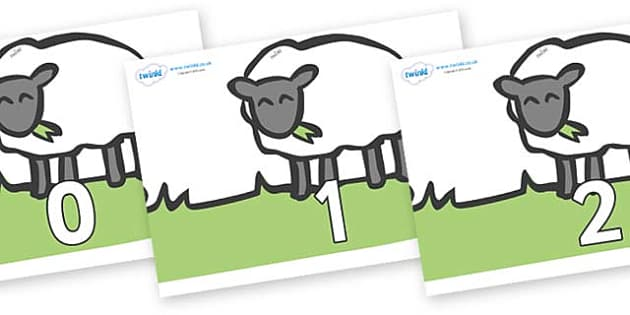 Numbers 0-31 on Sheep to Support Teaching on Pig in the Pond - 0-31, foundation stage numeracy, Number recognition, Number flashcards, counting, number frieze, Display numbers, number posters