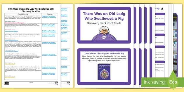 There Was an Old Lady Who Swallowed a Fly Discovery Sack - discovery sack