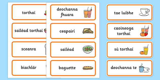 Healthy Eating Cafe Role Play Word Cards Gaeilge - food, drink, eat, eating, cafe, restaurant, dinner, lunch, juice, drinks, sandwiches, menu, irish, ireland, roi, reuplic, languages
