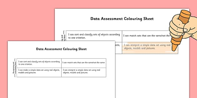 1999 Curriculum Junior Infants Data Assessment Group Colouring Sheets - roi, irish, gaeilge, assessment, checklist, maths, junior infants, data
