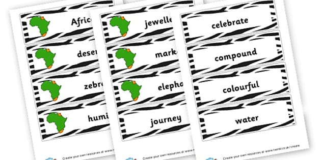 Africa Themed Flashcards - Africa Literacy Primary Resources, continent, east africa