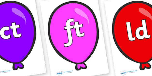 Final Letter Blends on Party Balloons - Final Letters, final letter, letter blend, letter blends, consonant, consonants, digraph, trigraph, literacy, alphabet, letters, foundation stage literacy