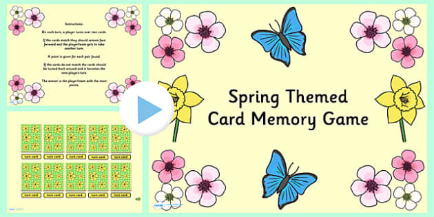 Spring Themed Card Matching PowerPoint Game - spring, seasons