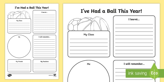 I've Had a Ball This Year! End of Year Activity Sheet - End of Year, last day of school, end of year worksheet, end of year activity sheet, last day, transi