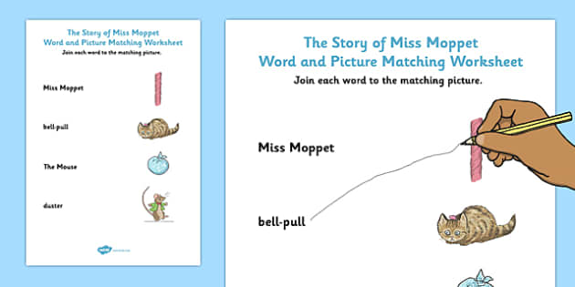 Beatrix Potter - The Story of Miss Moppet Word and Picture Match - beatrix potter, miss moppet