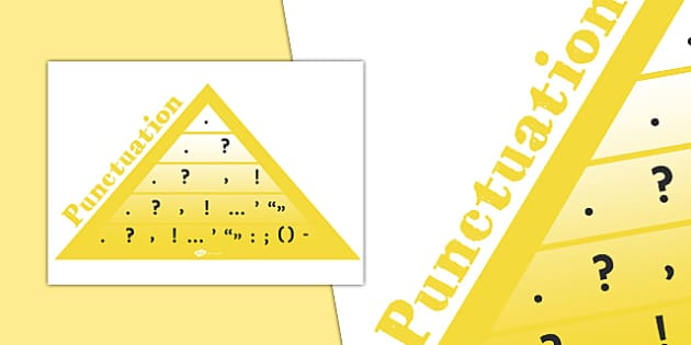 VCOP Punctuation Pyramid (A4) - VCOP, V.C.O.P., display, poster, punctuation, banner, sign, writing aid, writing aids, connectives, vocabulary, openers