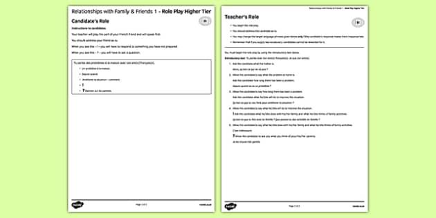 Les rapports avec la famille et les amis 1 Jeu de rôle Higher Tier - french, Family, relationships, friends, friendship, famille, rapports, amis, amitié, role play, higher, speaking