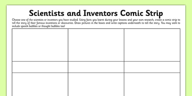 Scientists and Inventors Comic Strip - living things, conservation, sound, Alexander Graham Bell, gas, changing state, oxygen, temperature, Kelvin, electricity, Thomas Edison, toothpaste, teeth