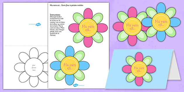 Mothers Day Flap Flower Card Template French mothers day – Mothers Day Card Template