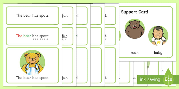 Bears Simple Sentence Cards - reading, sentences, eyfs, word cards, decoding, tricky words, phase 4, phoneme, grapheme, sound butt