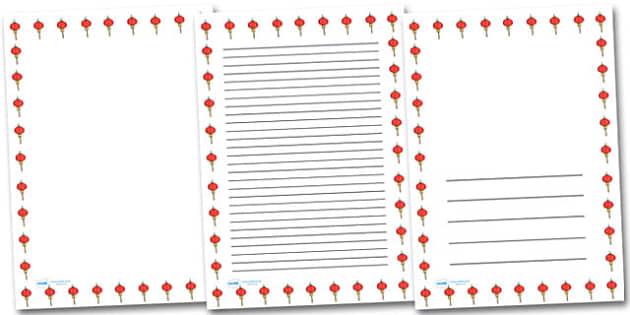 Chinese Lantern Portrait Page Borders- Portrait Page Borders - Page border, border, writing template, writing aid, writing frame, a4 border, template, templates, landscape