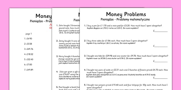Money Word Problems Polish Translation - polish, money, word problems, word, problems, worksheets
