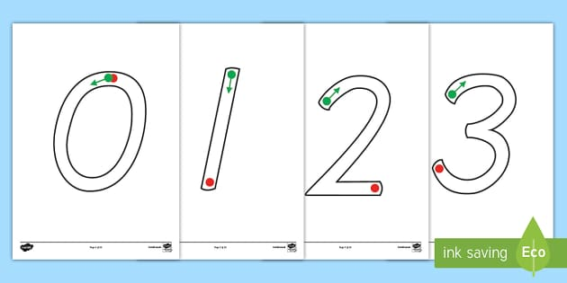 Large Tracing Numbers Dotted Version - trace, number, motor skill