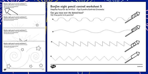 Bonfire Night Pencil Control Sheet Romanian Translation - romanian