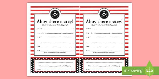 Pirate Themed Birthday Party Invitations - birthdays, parties
