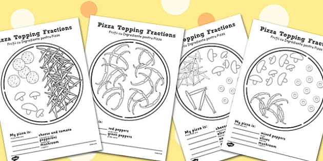 Pizza Fractions Worksheets Halves Quarters and Thirds Romanian – Pizza Fractions Worksheet