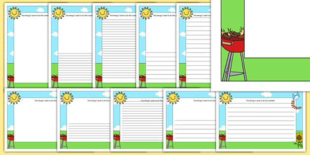 Five Things I Want to do this Summer Page Borders - summer, beach, seasons, summer holidays, holidays, what I want to do this summer, summer writing frame, page borders,