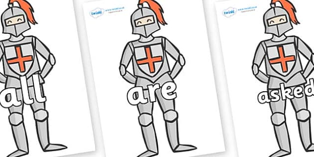 Tricky Words on Knights - Tricky words, DfES Letters and Sounds, Letters and sounds, display, words