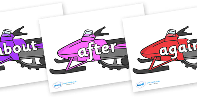 KS1 Keywords on Snowmobiles - KS1, CLL, Communication language and literacy, Display, Key words, high frequency words, foundation stage literacy, DfES Letters and Sounds, Letters and Sounds, spelling