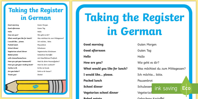 Taking the Register A4 Display Poster - School, German, Schule, Register ,German