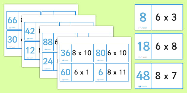 8 and 6 Times Tables Loop Cards - 8 and 6 times table loop cards, 8 times, 6 times, times, multiplication, multiply, loop cards, cards, flashcards, loop, image, times table, times tables