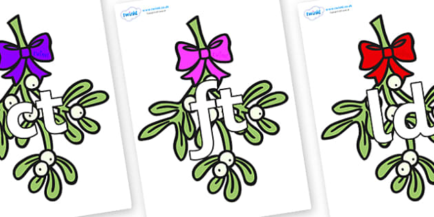 Final Letter Blends on Mistletoe - Final Letters, final letter, letter blend, letter blends, consonant, consonants, digraph, trigraph, literacy, alphabet, letters, foundation stage literacy