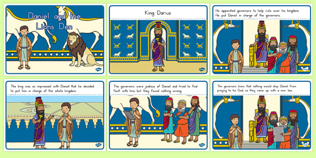Daniel and the Lion's Den Story Sequencing A4 - usa, america, Daniel and the Lions, Daniel, Lions, lion pit, sequencing, story sequencing, story resources, A4, cards, Babylon, King Darius, governors, God, pray, den, bible story, bible