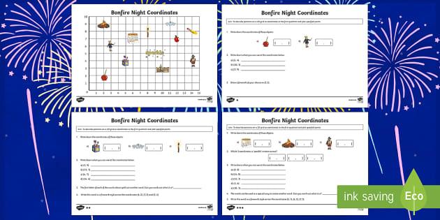 Year 4 Bonfire Coordinates Activity - year 4, bonfire night, bonfire, coordinates, activity