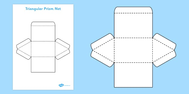 3D Net for Triangular Prism - triangular prism, net, shape, 3D, 3D shape, net, triangular prism