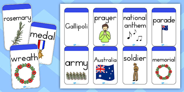 Anzac Day Flashcards - flash cards, word cards, remember, anzac