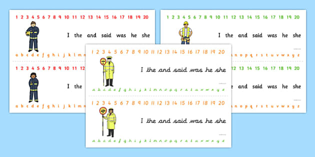 Number and Alphabet Strips (People Who Help Us) - Alphabet, Numbers, Learning letters, Writing aid, Writing Area, Counting, Numberline, Number line, Counting on, Counting back