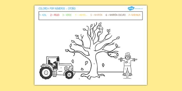 Ficha Colorea por números otoño
