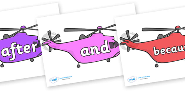 Connectives on Helicopters - Connectives, VCOP, connective resources, connectives display words, connective displays