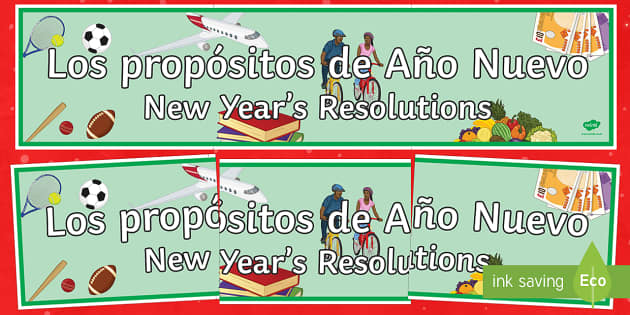 New Years Resolutions Display Banner Spanish Translation - spanish, new years resolution, near year, resolution, display banner, display, banner