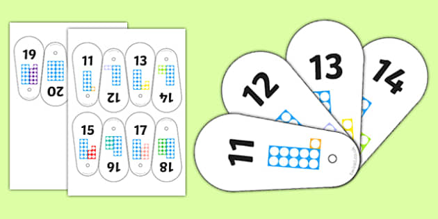 Number Shape Fan 11-20 - number shape, fan, 11-20, number, shape, maths, mathematics, numbers