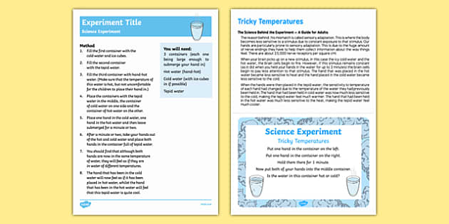 EYFS Tricky Temperatures Science Experiment and Prompt Card Pack
