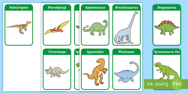 Dinosaur Flashcards - dinosaurs, flash card, visual aid, history