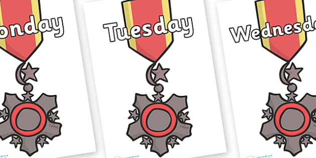 Days of the Week on Medal - Days of the Week, Weeks poster, week, display, poster, frieze, Days, Day, Monday, Tuesday, Wednesday, Thursday, Friday, Saturday, Sunday