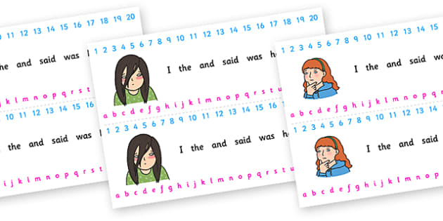 Number and Alphabet Strips (Ourselves) - Alphabet, Numbers, Learning letters, Writing aid, Writing Area, Counting, Numberline, Number line, Counting on, Counting back