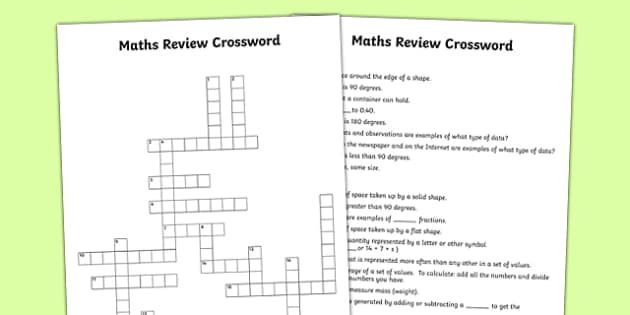 Maths Review Crossword