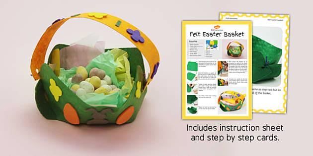 Felt Easter Baskets Craft Instructions - easter, basket, craft