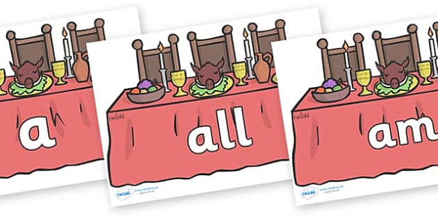 Foundation Stage 2 Keywords on Dining Tables - FS2, CLL, keywords, Communication language and literacy,  Display, Key words, high frequency words, foundation stage literacy, DfES Letters and Sounds, Letters and Sounds, spelling