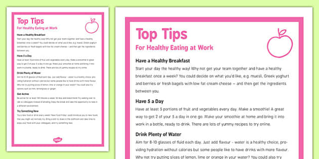 Five Top Tips for Healthy Eating at Work - five, top tips, healthy, eating