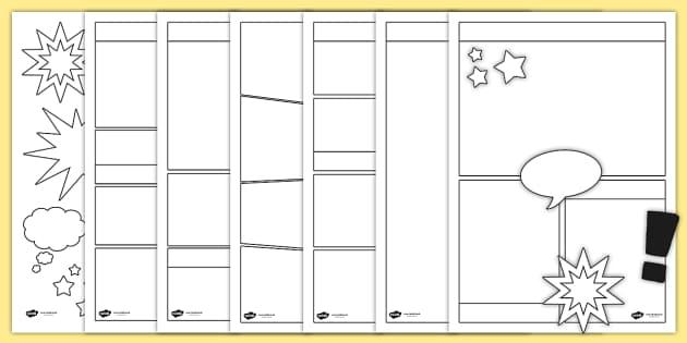 Blank Comic Book Templates - comic, comic books, writing template, literacy, writing, comic
