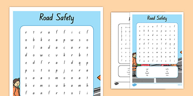 New Zealand Road Safety Word Search
