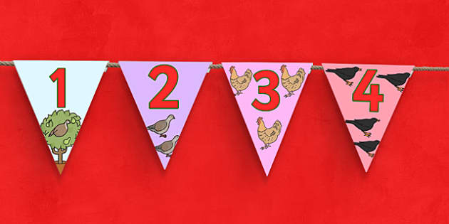 12 Days of Christmas Number Bunting - 12 days of christmas, christmas, xmas, bunting, counting, 12 days of christmas bunting, christmas bunting, 1-12 on bunting, decorating, decorations, christmas decorations, classroom decorations