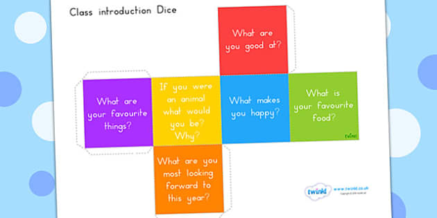 Class Introduction Questions Dice Net - introduction, new term, term