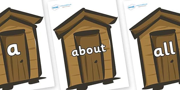 100 High Frequency Words on Sheds - High frequency words, hfw, DfES Letters and Sounds, Letters and Sounds, display words